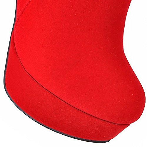 VogueZone009 Donna Pelle Di Mucca Puro Bassa Altezza Tacco Alto Stivali Rosso