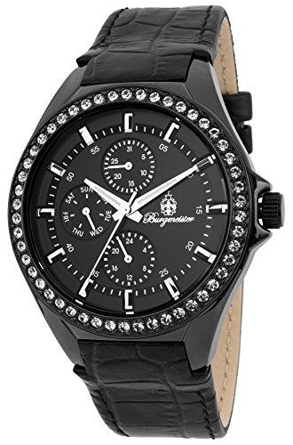 Burgmeister Armbanduhr für Damen mit Analog Anzeige, Quarz-Uhr und Lederarmband - Wasserdichte Damenuhr mit zeitlosem, schickem Design - klassische, elegante Uhr für Frauen - BM529-622 Tampa