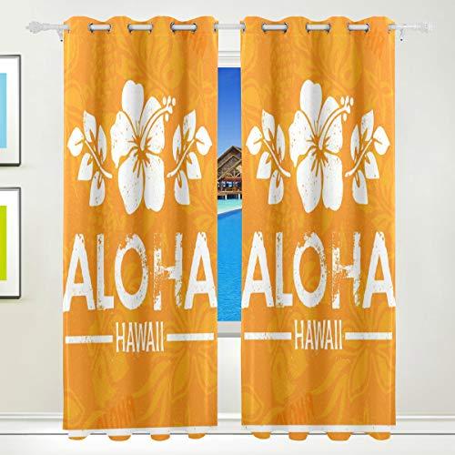CUMIMI mumimi Retro Aloha Hawaii Print Isoliert Verdunkelung Abdunkelung Vorhänge für Schlafzimmer Wohnzimmer 139,7cm W x 213,4cm L, 2Einsätze (Vorhänge 84 Oben Tülle)