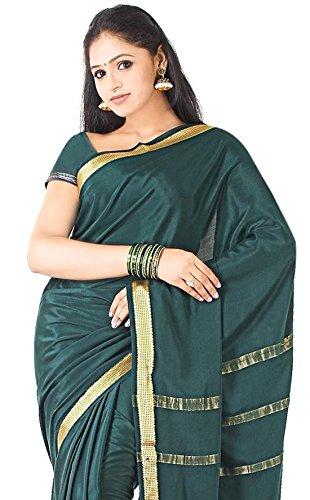 Sudarshan Crepe 100% Pure Mysore Traditional Silk Saree (SSSB19_Green)