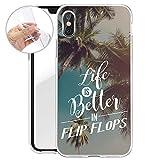 Finoo Iphone X Weiche flexible Silikon-Handy-Hülle | Transparente TPU Cover Schale mit Motiv | Tasche Case Etui mit Ultra Slim Rundum-schutz | Life is better in Flip Flops