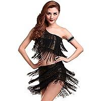 Moresave Mujer Un Hombro Paillette Borla Latin Salsa Danza Vestido Top    Rock 18f6a05fc21