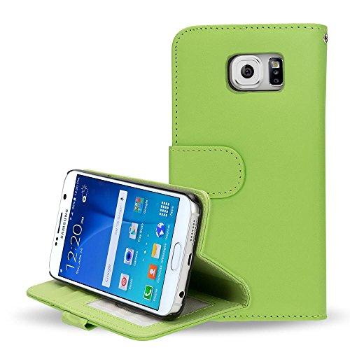 Samsung Galaxy S6 Hülle Klapphülle von NICA, Slim Flip-Case Kunst-Leder Vegan, Phone Etui Schutzhülle Book-Case, Dünne Vorne Hinten Handy-Tasche Wallet Bumper für Samsung S6 Smartphone - Grün