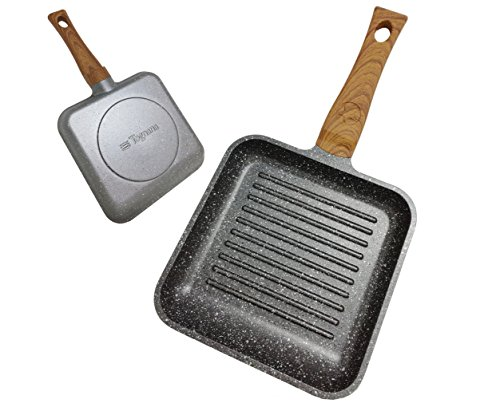Aluminium Square Grill Pan (Tognana Porcellane v7458bqmgrw Grill Pan Square Frying Pan – Frying Pans (Square, Grill Pan, Grey, Wood, Aluminium, Stone, Ceramic, Gas, Halogen, Induction, sealed Plate, Bakelit))