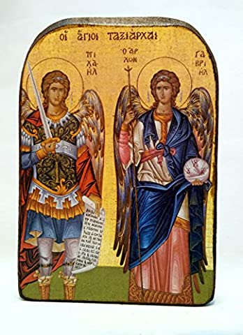 Handmade Wooden Greek Christian Orthodox Mount Athos Icon of Archangels