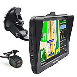 Bluetooth Sat Nav with Reverse Camera 7 inch 8GB 256MB Car GPS Navigation System Sat Navs with Sunshade