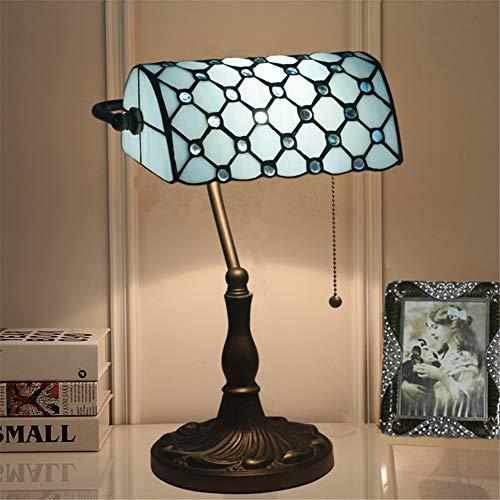JDJD Lámpara de Mesa Retro, lámpara de Escritorio para banqueros E27 Pantalla de Vidrio LED y Base...