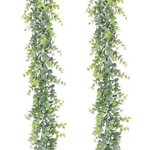 YQing 2 guirnaldas de eucalipto Artificial, Hojas de eucalipto, Hecho a Mano, de plástico, para Colgar en la Pared, decoración de la Mesa