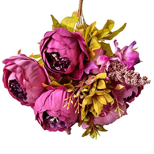 WINOMO Pivoine faux pivoines tissu de soie artificielle pour le mariage de décoration de mariage (Parti pourpre)