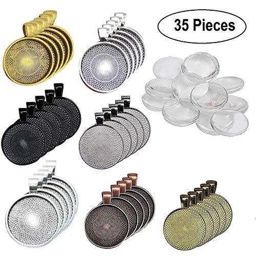 Anhänger Set (35Pcs) mit Glaskuppel (35Pcs) - 7 Farben Cabochon Schale mit Anhängering -Transparenten Glas Kuppel Fliesen - Ideal für Schmuckherstellung, Handwerk, Halskette, Schlüsselanhänger