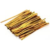 TOOGOO(R) 100 Pcs Gold Metallic Twist Ties for Cello Candy Bags Party 8cm