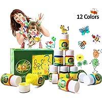 Hapree 12 colores para pintar con los dedos, sin gluten, pintura para niños no