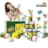 Hapree 12 Farben Fingerfarbe, glutenfrei, ungiftige Kinder-Lackierung, Waschbare Farbe für Kleinkinder Baby Kinder Set Für Kunst, 12 x 30 ml (1,02 FL. Oz)