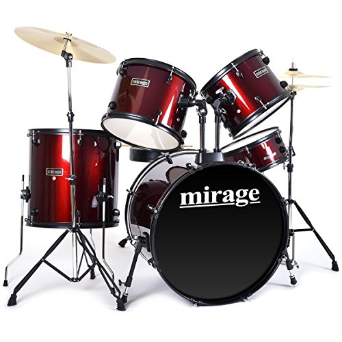 mirage-5-piece-beginners-drum-kit-full-size-with-stool-and-sticks-red