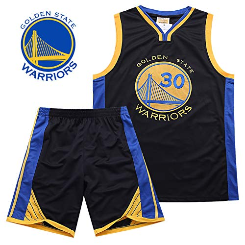 Hanbao Kinder Madchen Basketball-Anzug-Sommer-Basketball-Uniform NBA Warriors 30# Curry Fan Edition # Jersey-Classic ärmelloses Top und Shorts -