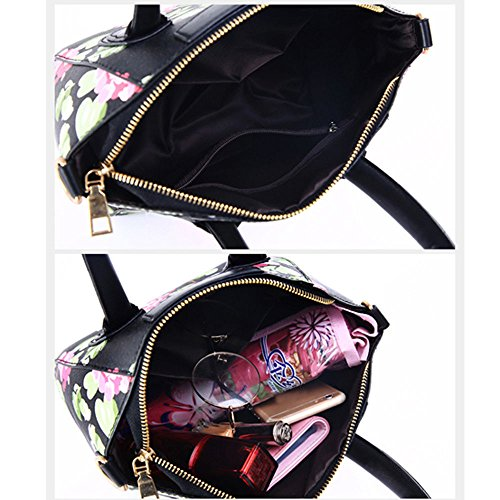 Longra Donne di moda borsa a tracolla stampa borsa Nero