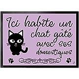 Tapis antid/érapant Motif Animal paillasson d/écor Mignon de Chat endormi Sunshay Tapis de Sol 3D Chat de Dessin anim/é Tapis de Chat tigr/é pour d/écoration Noire