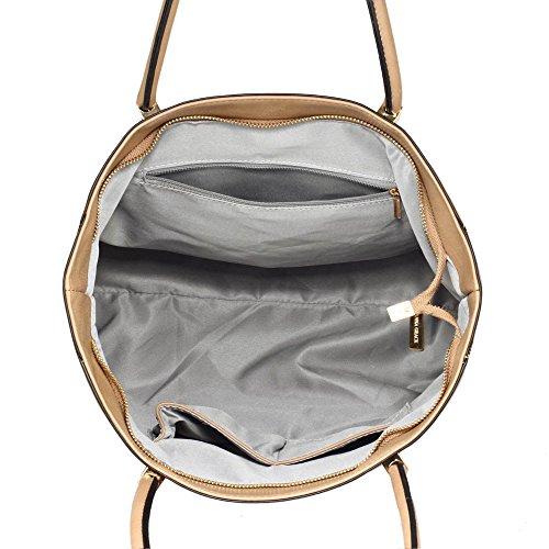 Damen Greifen Tasche Damen Designer Faux Leder Handtasche Mit Gold Metall Arbeit Und Fein Stitching Oben Reißverschluss Schließung Mit Polka Punkte Stoff innen Taupe
