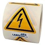 Warnzeichen W012 - Warnung gefährliche elektrische Spannung - Seitenlänge 100 mm - 500 Warnschilder aus Vinyl Folie