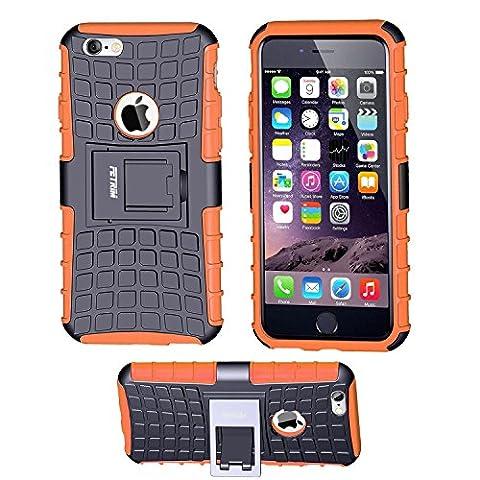 iPhone 6 Coque,iPhone 6S Coque, Fetrim Armor Support Protection Étui,anti chocs Bumper Étui Hybride protection Housse Cover pour Apple iPhone 6 6S (Orange)