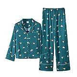Pyjamas Femme à Manches Longues Cardigan à Manches Longues Pantalons Service à Domicile Confortable En Soie Douce Costume Deux Pièces