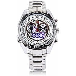 Quartz Wrist Watch - TVG Blue LED Mens Digital Quartz Wrist Watch Dual Time Sports Stainless Steel White
