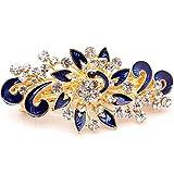 Fermaglio Flower accessori capelli clip strass acconciatura fermacapelli fiore BLU