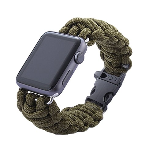 LiQi Cinturino per Apple Watch, in Corda verde di silice, per sport all'aria aperta, Sostituzione per cinturino da polso, per Apple Watch, Watch Sport & Watch Edition, Green, 42 mm - Sport e all'aperto Attrezzature per attività all'aperto