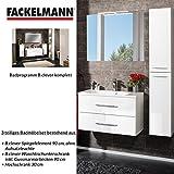 Fackelmann Badmöbel Set B.Clever 3-tlg. 120 cm Weiß mit Waschtisch Unterschrank inkl. Gussmarmorbecken & Hochschrank & Spiegelelement