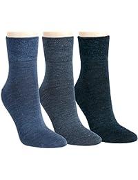 Vitasox Damen Socken feine Wollsocken Damensocken Wolle grau anthrazit jeans schwarz uni einfarbig ohne Naht ohne Gummi 6er Pack