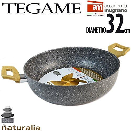 Tegame in Pietra Antiaderente 32 cm 2 Manici Bakelite Effetto Legno Linea Naturalia Accademia Mugnano