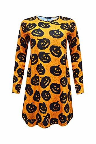 Sugerdiva® Femme Holloween Swing Robe en différentes Impressions Black & Orange Pumpkin Print