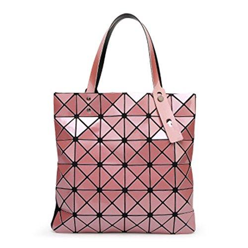 La piegatura Quilted Borse donna diamanti laser geometria estate sacchetti femmina Plaid Top-Handle Bag Fake designer borsette borsette rosa 32.5x32.5cm
