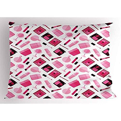2pcs Fashion Pillow Sham,Rhythmic Blush Pinsel Lippenstift Nagellack Spiegeldruck auf normalem Hintergrund,dekorativer Standard Queen Size bedruckter Kissenbezug,36 X 20,Weiß Pink und Kastanienbraun -