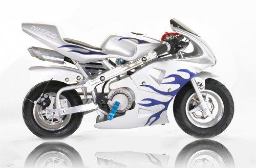 Preisvergleich Produktbild Pocket Bike PS77 49cc, Kinderbike, Rennbike, Dirtbike, Mnibike, Blau-Weiss Flamme