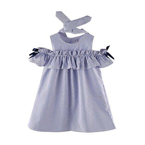 Sunnywill Baby Jungen Mädchen Outfit Kleidung trägerlosen Streifen Kleid + Stirnband Set (2-3 jahr, (Mädchen Outfits Für)