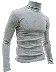 Gleader Mode Hommes Automne Hiver Col Roule Sweater-Shirt Motif solide Pull Gris Clair XXL