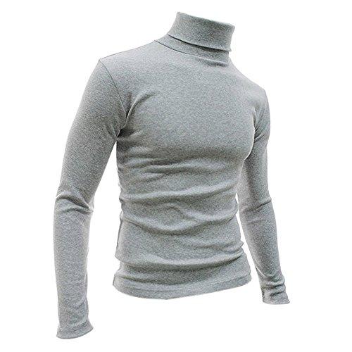 SODIAL (R) Moda Autunno Inverno maglione dolcevita shirt fantasia tinta unica Pullover da uomini grigio chiaro M