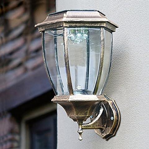 Outdoor-Solar-Sensor Wandleuchte, Aluminium-Legierung Glas Lampenabdeckung Outdoor offene Wasser Wand Lampe, Tür Balkon dekorative Beleuchtung LED-Leuchten (Solar-Sensor-Panel, 1200mah Batterie) ( Size : 8inch )