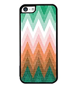 FUSON Zigzag Colorful Geometric Lines Designer Back Case Cover for Apple iPhone 5c