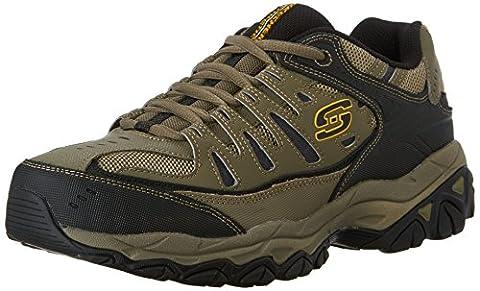 Skechers Sport Men's Afterburn Memory Foam Lace-Up Sneaker,Pebble/Black,10 4E