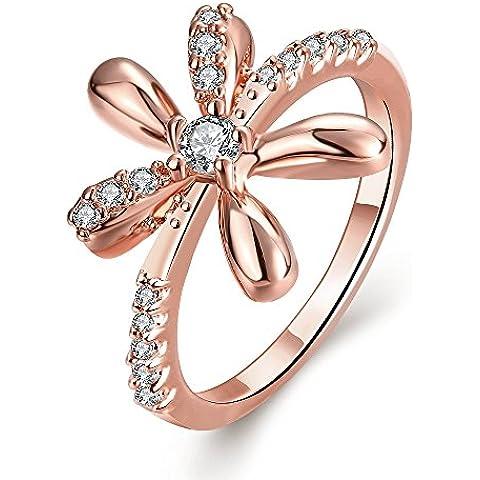 Moda Anillos Rose Gold Plated Anillos CZ de flor de rosa de cristal para mujer bisutería