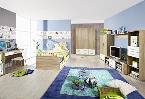 Rauch Bett mit Schubladen 90×200 cm Weiß Alpin, Eiche Sonoma Nachbildung, Stellmaß LxBxH 206x94x54 cm