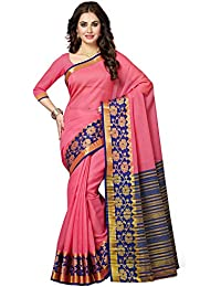 Ishin Cotton Saree With Blouse Piece (Mukfab-1002_Pink_Free Size)