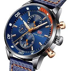 MINI FOCUS Homme Montre Analogique Chronographe étanche Business Montres à Quartz Pour Cadeau Calendrier Date en Cuir Strap (Bleu)