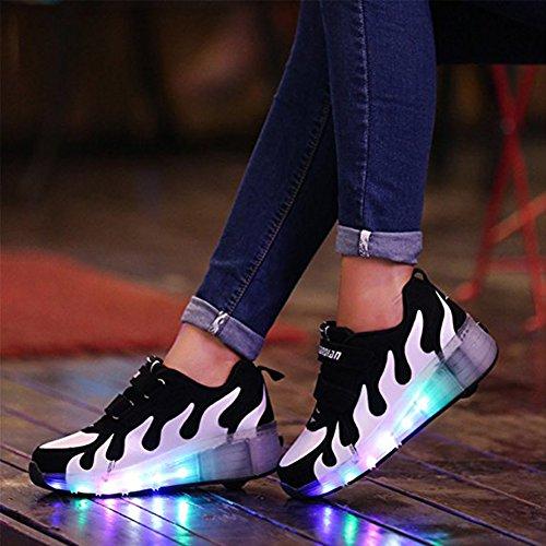 Led Schuhe mit Rollen Farbe 7 Farbwechsel Sneaker Sportschuhe Skateboard Herren Kinder Junge Damen Mädchen Schwarz-Weiss