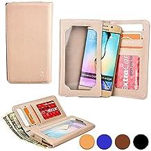 Funda Universal tipo Cartera Cooper Cases (TM) Infinite Wallet para Smartphone de Motorola ATRIX HD MB886 en Oro (Superficie exterior de poliuretano, protector de pantalla incorporado, ranuras para tarjetas, compartimentos para tarjeta de identificación o carnets y billetes)