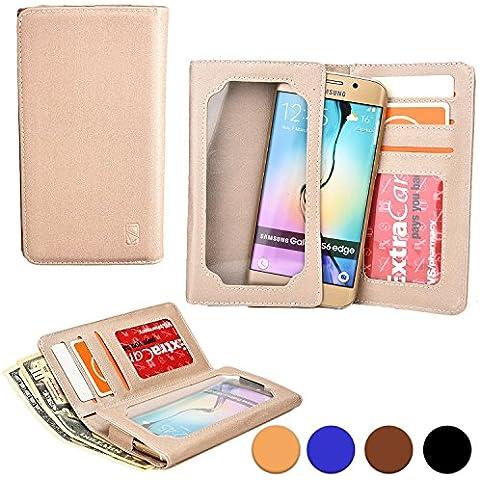 Funda Universal tipo Cartera Cooper Cases (TM) Infinite Wallet para Smartphone de Alcatel One Touch Snap LTE / X'Pop en Oro (Superficie exterior de poliuretano, protector de pantalla incorporado, ranuras para tarjetas, compartimentos para tarjeta de identificación o carnets y billetes)