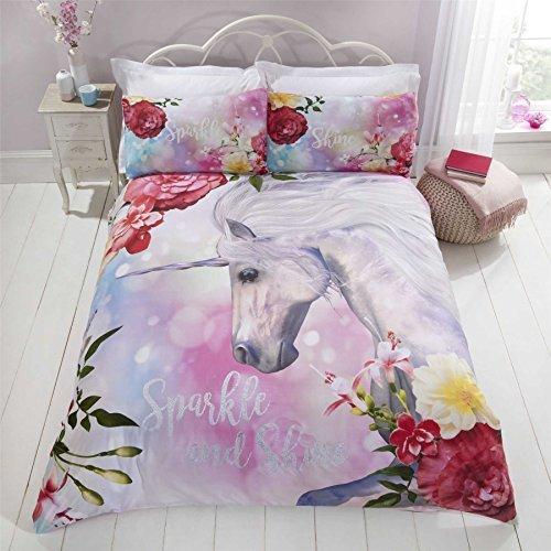 hell Einhorn Blume Blumen rosa weiß einzeln ( Plain Weiß passendes Leintuch - 91 x 191cm + 25) 3 Stück Bettwäsche Set