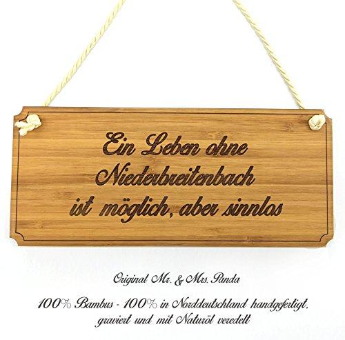 Mr. & Mrs. Panda Türschild Stadt Niederbreitenbach Classic Schild - Gravur,Graviert Türschild,Tür Schild,Schild, Fan, Fanartikel, Souvenir, Andenken, Fanclub, Stadt, Mitbringsel